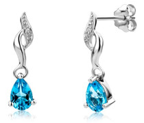 Damen-Ohrringe 9 Karat (375) Weißgold Blau Topas und Brillanten