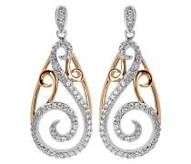 Damen-Ohrhänger Silber vergoldet teilrhodiniert Zirkonia weiß ZO-5180