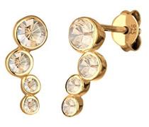 Damen Ohrstecker Basic Geo Klassisch 925 Sterling Silber Vergoldet Swarovski Kristalle gold