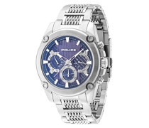 Police Mesh bis Herren Mechanische Uhr mit Blau Zifferblatt Analog-Anzeige und Silber Edelstahl Armband 14543js/03M