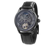 Longitude Shadow ES-8063-03 Herren-Armbanduhr mit Automatikgetriebe, graues Zifferblatt mit Skelett-Anzeige, schwarzes Lederarmband