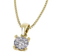 Damen-Halskette Glamour 585 Gelbgold 10 Diamanten 0,10 ct. Kettenanhänger Brillanten Schmuck Diamantkette