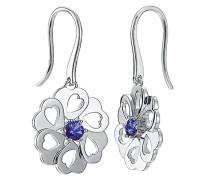 Pierre Cardin Damen-Ohrhänger 925 Sterling Silber rhodiniert Glas Zirkonia La Fleur blau S.PCER90243A000