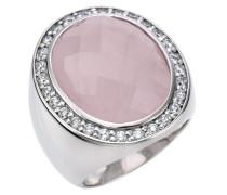 Damen-Ring 925 Sterling Silber Rosenquartz + Zirkonia weiß W: 21 342270047-3L-021