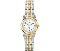 –642364Damen-Armbanduhr 045J699Analog weiß Armband Metall Zweifarbig