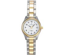 –642315Damen-Armbanduhr 045J699Analog weiß Armband Metall Zweifarbig