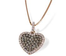 Damen-Halskette Herz 585 Rotgold 39 champagner Brillanten 0,42 ct. U. 38 Diamanten 0,26 ct. Herzkette Schmuck Diamantkette