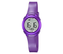 Unisex Armbanduhr Digitaluhr mit LCD Zifferblatt Digital Display und lila Kunststoff Gurt K5677/2