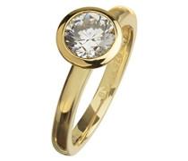 Damen-Ring Sterling Silver 925 Silber teilvergoldet Zirkonia Rundschliff weiß