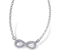 Damen-Halskette Infinity 925 Sterlingsilber 24 weiße Zirkonia