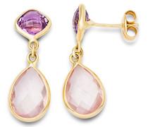 Damen-Ohrringe 9 Karat (375) Gelbgold Amethyst und Rose Quartz facettiert