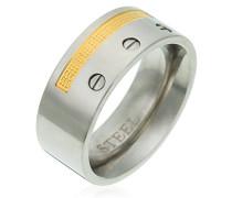 Unisex Stainless Steel Ring Bicolor 18 Karat Vergoldet