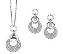 Damen-Set: Halskette + Ohrringe 925 Sterling Silber Zirkonia wei SET-5226