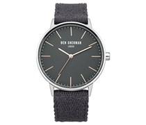 Ben Sherman Herren Quarz-Uhr mit weißem Zifferblatt Analog-Anzeige und grau Nylon Gurt wb009ea
