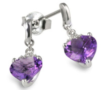 Damen-Ohrstecker Herzen 585 Weißgold Amethyst 6 Diamanten 0,02ct  Herz-Ohrringe