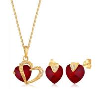 Damen Schmuck Set Halskette und Ohrringe 925 Sterling Silber mit Swarovski Kristallen rot 45 cm 0911862913