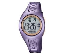 Unisex Armbanduhr Digitaluhr mit LCD Zifferblatt Digital Display und lila Kunststoff Gurt k5668/5