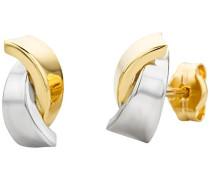 Ohrstecker für Damen 14 Karat / Ausgefallene Ohrringe aus 585 Gold Bicolor / Ohrschmuck aus Weiß- und Gelbgold 4,8mm x 9mm