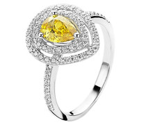 Damen-Ring 925 Silber rhodiniert Zirkonia gelb Tropfenschliff