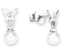 Prinzessin Lillifee Kinder-Ohrhänger Mädchen 925 Silber Schmetterlinge Muschelkernperle rhodiniert Zirkonia weiß
