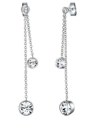 Damen Ohrstecker 925 Sterling Silber Brillantschliff Kristall weiß 0308151516