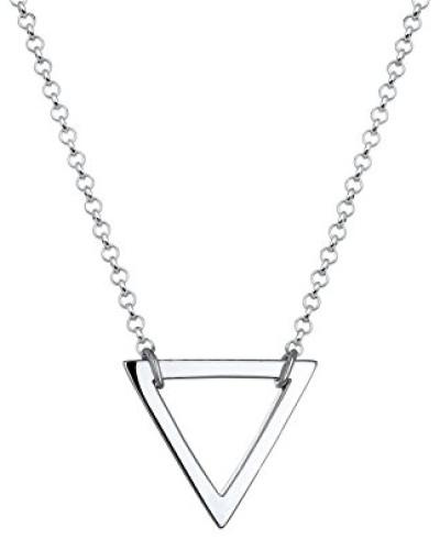 Damen Schmuck Echtschmuck Halskette Kette ohne Anhänger Dreieck Geo Blogger Trend Sterling Silber 925 Länge 45 cm