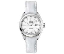Seamaster Aqua Terra Luxus Damen Automatik Uhr mit Perlmutt Zifferblatt Analog-Anzeige und Weiß Lederband 23113342004001