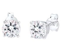 Damen Ohrstecker 925 Sterling Silber Swarovski Kristallen weiß Brillantschliff 0306990314