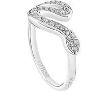 Damen-Ring Edelstahl gebürstet Kristall silber