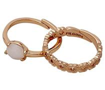 Damen-Stapelring Jade weiß Rundschliff Ringgröße verstellbar - 191624004