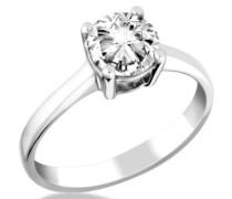 Damen-Ring 9 Karat Weißgold Solitär Diamantring Rundschliff 1.0ct I-J/I1