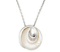 Damen Halskette 925 Sterling Silber Perlmutt Zirkonia Silber