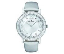 4433.7532Unisex Quarz Schweizer Uhr mit weißem Zifferblatt Analog-Anzeige und Weiß Lederband