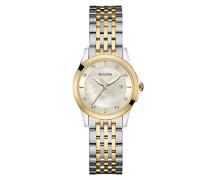 Diamond 98S148 - Damen Designer-Armbanduhr - Stahl & Perlmutt - Zweifarbig mit Goldfarbe