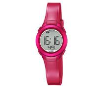 Unisex Digitalarmbanduhr mit LCD Ziffernblatt Digital Display und pinkem Kunststoffarmband K5677/4