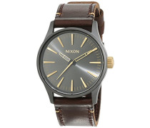 Nixon Damen-Armbanduhr Sentry 38 Leather Gunmetal / Gold Analog Quarz Leder A377595-00