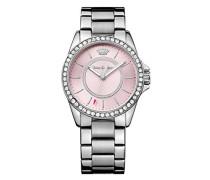 Juicy Couture Laguna Quarz Damen Armbanduhr mit rosa Zifferblatt Analog-Anzeige und Silber Edelstahl Armband 1901408