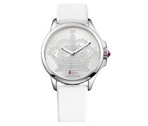 Jetsetter Women'Juicy Couture Damen-Armbanduhr 1725.1562 Analog-Anzeige und weiße Lederband 1901095