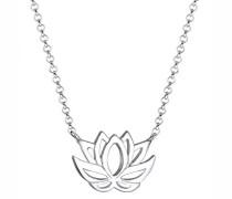 Damen Schmuck Echtschmuck Halskette Kette Anhänger Lotusblume Sterling Silber 925 Länge 45 cm