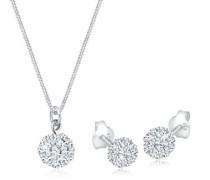 Damen-Halskette + Ohrringe Swarovskikugel 925 Sterling Silber Swarovski Kristall weiß Brillantschliff 0908941412_45