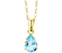 Damen-Halskette mit Anhänger / Moderne Kette aus 9 kt. Gelbgold mit Geburtsstein Topaz in Blau / Halsschmuck 45 cm lang, Gold