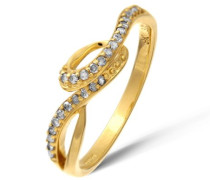 Damen-Ring 9 K Gelbgold Diamant 0,17 ct