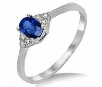 9 Karat (375) Weißgold Saphir Blau Diamant Verlobungsring SA985R