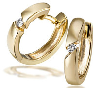 -Creolen 585 Gelbgold 2 Diamanten 0,07 ct. SI/H Ohrringe Brillanten Schmuck