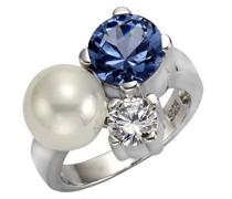 Pearls Damen Ring 925 Sterling Silber rhodiniert Muschelkernperle weiß Zirkonia