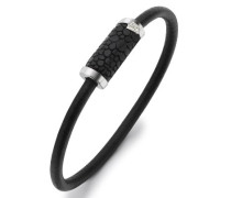 Herren schwarzes  Leder Armband m.eingelegten Sterling Silber    magnetischem Verschluß