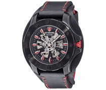 DETOMASO Herren-Armbanduhr Rotore Black/Red Analog Automatik Leder DT2061-A