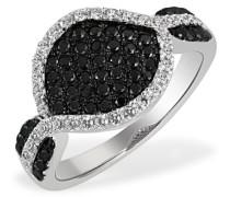 Damen-Ring Black Pavee 925 Sterlingsilber 86 schwarz-weisse Zirkonia