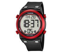 Unisex Armbanduhr Digitaluhr mit LCD Zifferblatt Digital Display und schwarz Kunststoff Gurt k5705/2