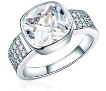 Damen-Ring 925 Sterling Silber Zirkonia weiß - Silberring mit Stein farblos in Solitär-Optik 60800056